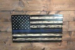 Selling: Tattered TBL-American Wood Flag-Veteran Made-Police Tribute
