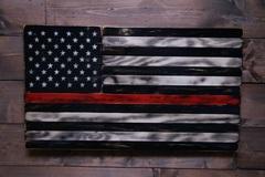 Selling: Tattered TRL-American Wood Flag-Veteran Made-Wall Decor