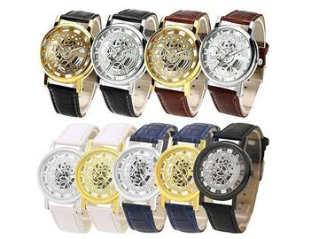 Sell: 30 Skeleton Leather Stainless Steel Watches