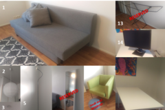 Myydään: Furniture and a computer screen (Prices in description)
