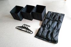 Myydään: Coat hangers, foldable boxes, shoe rack
