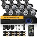 Sell: New 8-Camera 750GB 1080P Outdoor Video Home Security System