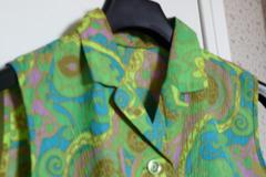 Vente au détail: robe vintage psychédélic verte