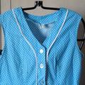 Vente au détail: robe vintage bleu turquoise à petits pois blancs
