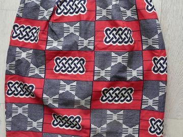 Sale retail: jupe droite ethnique wax rouge/noir