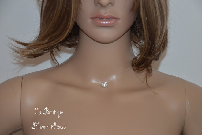 Collier Fil Nylon Strass Blanc Transparent 8 Mm Creachic