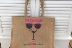 Vente au détail: Grand sac de plage en toile de jute pailleté