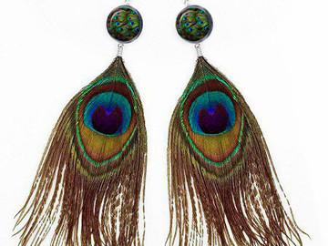 Vente au détail: boucles d oreilles plumes paon