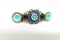 Vente au détail: barrette à clip bronze vintage, cabochons verre motifs bleus