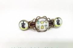 Vente au détail: barrette à clip bronze vintage, cabochons verre petites chou