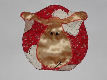 Vente au détail: Range-pyjama Mouton crèmeet rouge - création originale