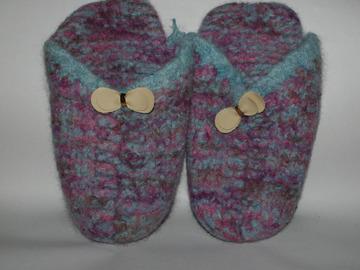 Vente au détail: Mules papillon PurLaine tricotées/feutrées - Création Unique