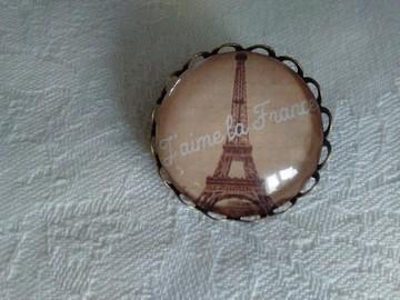 """Vente au détail: Broche cabochon rétro bronze, Tour Eiffel""""j'aime la France"""""""