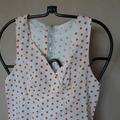 Vente au détail: robe vintage blanche pois oranges