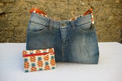 Vente au détail:  Sac à bandoulière en jean et coton imprimé ananas