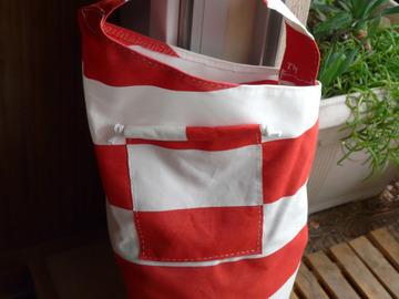 Vente au détail: Besace en toile rayures blanches rouges