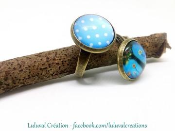 Vente au détail: bague bronze réglable, 2 cabochons verres arbre de vie