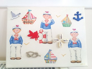 Vente au détail: tableau 3d les petits marins font leur entrée