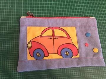 Vente au détail: Pochette tissus bleu voiture