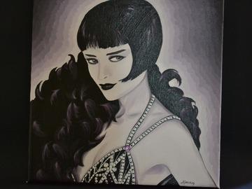 Sale retail: Tableau acrylique femme des années 20 au boa de plumes