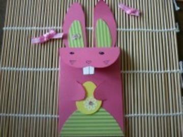 Sale retail: Enveloppe de lapin de Pâques rose entièrement fait-main, fle