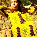 """Vente au détail: Blouse manches 3/4 en tissu wax africain, motif """"Foca"""""""