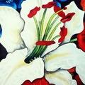 """Vente au détail: Aquarelle """"Fleur de lys blanche stylisée"""""""