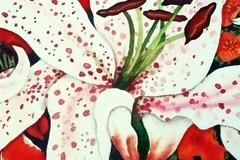 """Vente au détail: Aquarelle """"Fleur de lys blanche mouchetée de rose"""""""