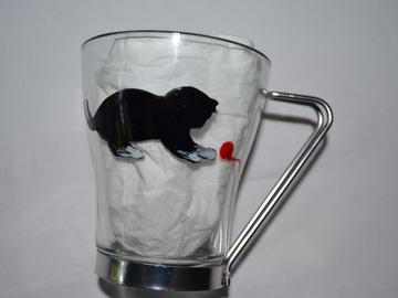 """Vente au détail: tasse à thé, à café """"le chaton et la pelote rouge"""""""