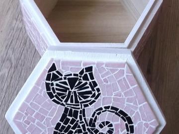 """Vente au détail: Boîte à trésors hexagonale """"Motif Chat"""""""