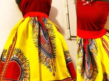 Sale retail: Jupe dashiki sur mesure
