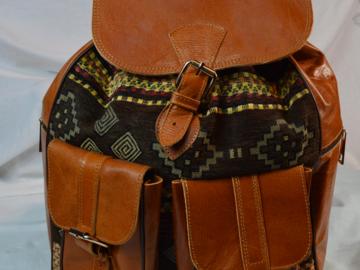Vente au détail: sac a dos /cartable en cuir avec tissu
