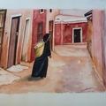 """Vente au détail: Aquarelle Maroc """"Dans la Médina, Marrakech"""""""
