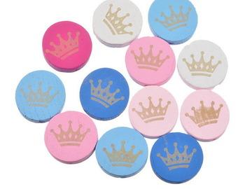 Vente au détail: 4 Perles Bois intercalaires Rondes imprimés Couronnes