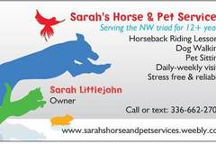 Free Consultation: Sarah's Horse & Pet Services- Dog Walking/Pet Sitting