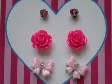Sale retail: boucles d'oreille 3 modèles rose