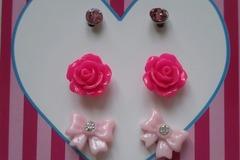 Vente au détail: boucles d'oreille 3 modèles rose