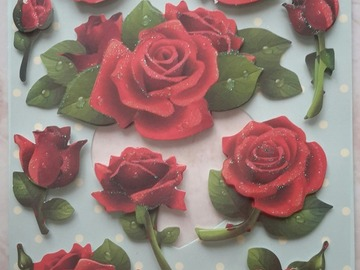 Sale retail: stickers roses rouges 3D adhésifs