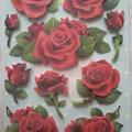 Vente au détail: stickers roses rouges 3D adhésifs