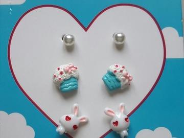 Sale retail: boucles d'oreille tête de lapin