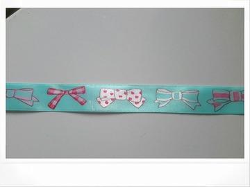 Vente au détail: ruban satin bleu avec noeuds dessinés