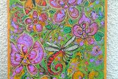 Vente au détail: Peinture moderne toile papillons acrylique