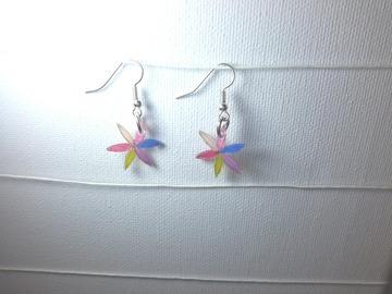 Vente au détail: boucles d'oreille rosace arlequin