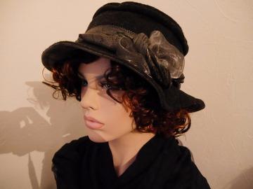 Vente au détail: Chapeau en laine bouillie et polyester gris foncé Camilia 7
