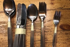 Myydään: Forks, knives, spoons, 2 different sizes, stainless steel