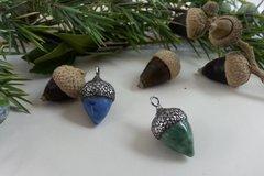 Vente au détail: pendentif en forme de gland en céramique vert ou bleu