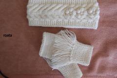 Vente au détail: Bandeau ecru femme en laine 50% ecru clair fait main et mita
