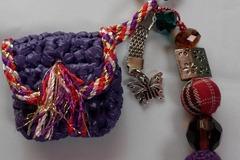 Vente au détail: Recycle, bijou de sac,porte jeton de caddie violet cycling