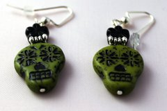 Selling: Day of the Dead - Picasso Czech Sugar Skull DANGLE Earrings