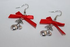 Selling: RETRO Cherry Charm silver earrings with red ribbon bows/Rock